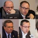 Arriba, de izquierda a derecha: Juan Antonio Pedreño, José Manuel Pingarrón, Silverio Egea y Mar Amate. Debajo, Miguel Ángel Cabra, Rafael Matesanz, Francisco Lorenzo y Victoria Camps.