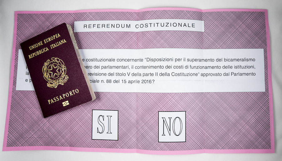 Ballot paper for Italian  Referendum, 4 December 2016